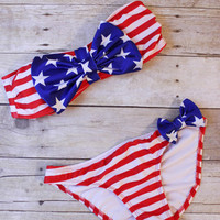 Bow Bikini: Stars & Stripes - Shoreline Boutique