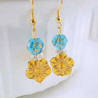 Gold Flower Earrings, Spring Earrings, Gold Plated Earrings, Handcrafted, Orange, Blue, Gift for Her