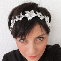 Silver Satin Fabric Flowers Stretchy Headband