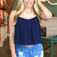 Breezy Beginnings Crop Top - Navy