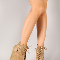 Dollhouse Knockout Lace Up Strappy Open Toe Platform Wedge