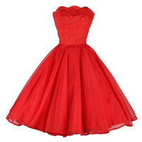 Vintage 1950's Emma Domb Red Chiffon Rhinestone Dress