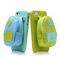 Creative Backpack Storage Leather Phone Case For iPhone 4/4S