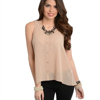 Ari Tan Button top