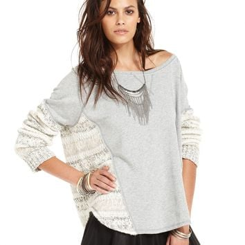Free People Long-Sleeve Scoop-Neck Contrast-Knit Sweater