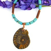 Ammonite Fossil Pendant Necklace Handmade Turquoise Magnesite Copper