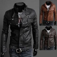 Jeansian Mens Pu Faux Leather Jackets Shirts Coats Top Outerwear 3 Colors 8961