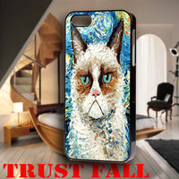 Grummpy Cat Meets Stary Night for iPhone 4, iPhone 4s, iPhone 5 /5s/5c, Samsung Galaxy S3, Samsung Galaxy S4 Case
