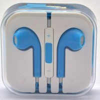HiCliC 3.5mm Earpods Earbuds Headphones SKY LIGHT BLUE With Remote Microphone Mic Voulme Control Earphones Headsets For iPhone 4 4S 5 5S 5C / iPad / iPod Touch / Mac
