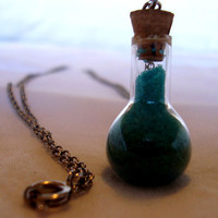 Glass vial Necklace with blue sand by AshleysCharm on Etsy