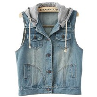 Fancy Dress Store Women's Sleeveless Hooded Bleached Denim Jacket