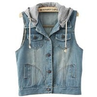 Women Detachable Hood Jeans Vest Bleached Denim, Small, Light Blue