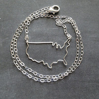 USA Necklace - Custom Country Necklace - United States of America Outline Necklace - America Necklace