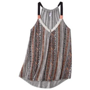 Xhilaration® Junior's Knit to Woven Printed Tank - Assorted Colors