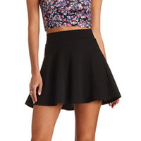 GEOMETRIC-TEXTURED HIGH-WAISTED SKATER SKIRT