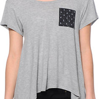 Glamour Kills Anchor Down Pocket Heather Grey Drape Top