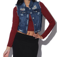 Heavy Destroyed Denim Crop Vest - WetSeal