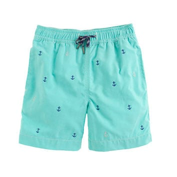 BOYS' OXFORD CLOTH SWIM TRUNK IN TINY ANCHORS