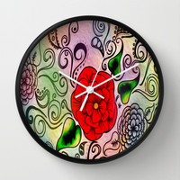 Faux Floral Prism Wall Clock by DuckyB (Brandi)
