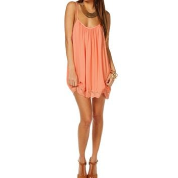 Pre-Order Peach Sleeveless Crochet Tunic