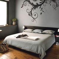 Vinyl Wall Decal Sticker Flower Floral Swirl LARGE | stickerbrand - Housewares on ArtFire