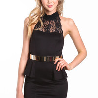 LACE PEPLUM BELTED DRESS