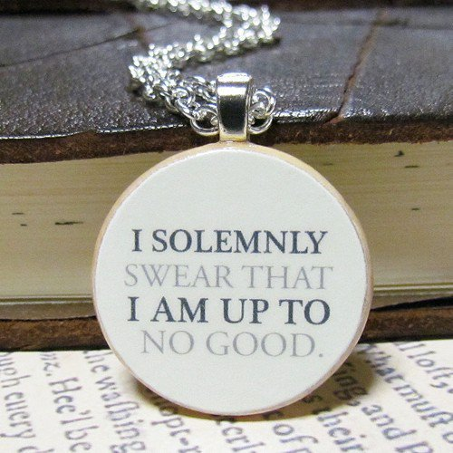 Harry Potter I Solemnly Swear... Marauders Map Inspired Necklace | TheWanderingReader - Jewelry on ArtFire