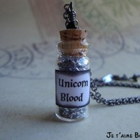 UNICORN BLOOD - Harry Potter Inspired Vial Necklace | JetaimeBoutique - Jewelry on ArtFire