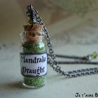 MANDRAKE DRAUGHT - Harry Potter Inspired Vial Necklace with swarovski | JetaimeBoutique - Jewelry on ArtFire
