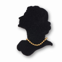 Silhouette Jewelry - Black Velvet Women Portrait - Wooden Brooch