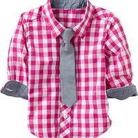 Gingham Shirt & Necktie Sets for Baby