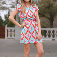 Diamond Haze Dress, Red/Aqua