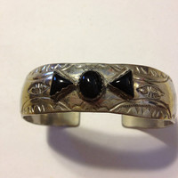 Navajo Onyx Cuff Sterling Bracelet Black Stones 23 Grams Native American Southwestern Tribal Jewelry Bangle Vintage Goth 60s Petit Point