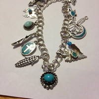 Sterling Charm Bracelet Navajo Hopi Blue Turquoise Silver 925 60s Arrowhead Roadrunner Butterfly Cross Feather Native Tribal Jewelry Vintage