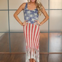 American Dreams Fringed High Low Dress