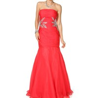 Pre-Order: Azalea- Watermelon Strapless Long Dress