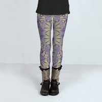Digital Futuristic Flowers Pattern by Daniel Ferreira-Leites (Leggings)