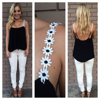 Black Daisy Low Back Tank