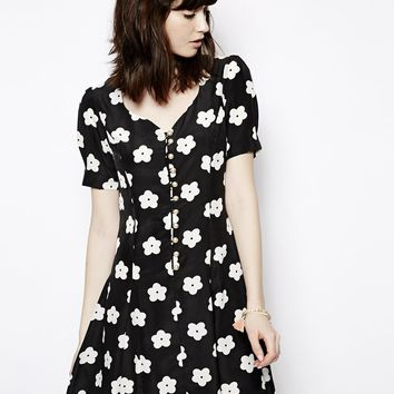 Nishe Daisy Mono Print Sweetheart Dress