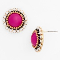Stone Bead Button Earrings (Juniors)