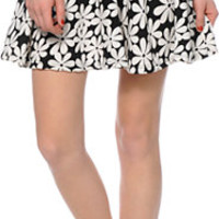See You Monday Retro Daisy Black Skater Skirt