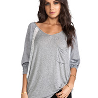 Tylie Mini Stripe Sleeve Pocket Raglan in Charcoal