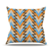 "Julia Grifol ""My Triangles in Blue"" Aqua Orange Throw Pillow"