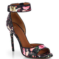 Rose Camouflage-Print Leather Sandals