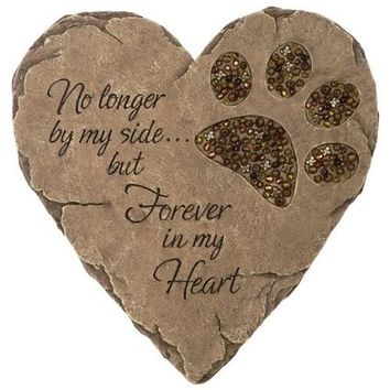 beadwork garden stepping stone -- pawprint