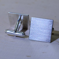 Sterling silver square cuff links with a touch of Bauhaus for you to personalize