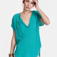 Life Aquatic High-Low Blouse | Threadsence
