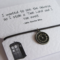 Dr Who Timelord Brown Leather cord friendship wish bracelet with Antiqued Bronze clock charm mounted on high quality 300gsm quote card