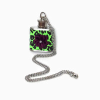 Flask Necklace 1oz green leopard print burgundy flower. Conceal under shirt or display awesomeness. Looks like normal necklace when hidden