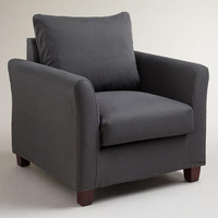 Charcoal Luxe Chair Slipcover